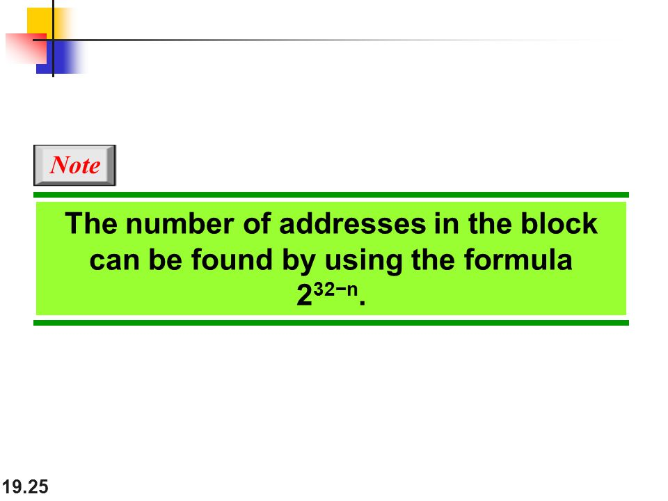 19.25 The number of addresses in the block can be found by using the formula 2 32−n. Note