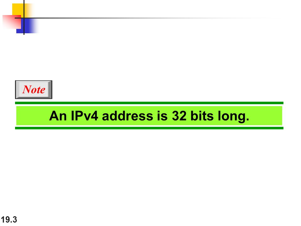19.3 An IPv4 address is 32 bits long. Note