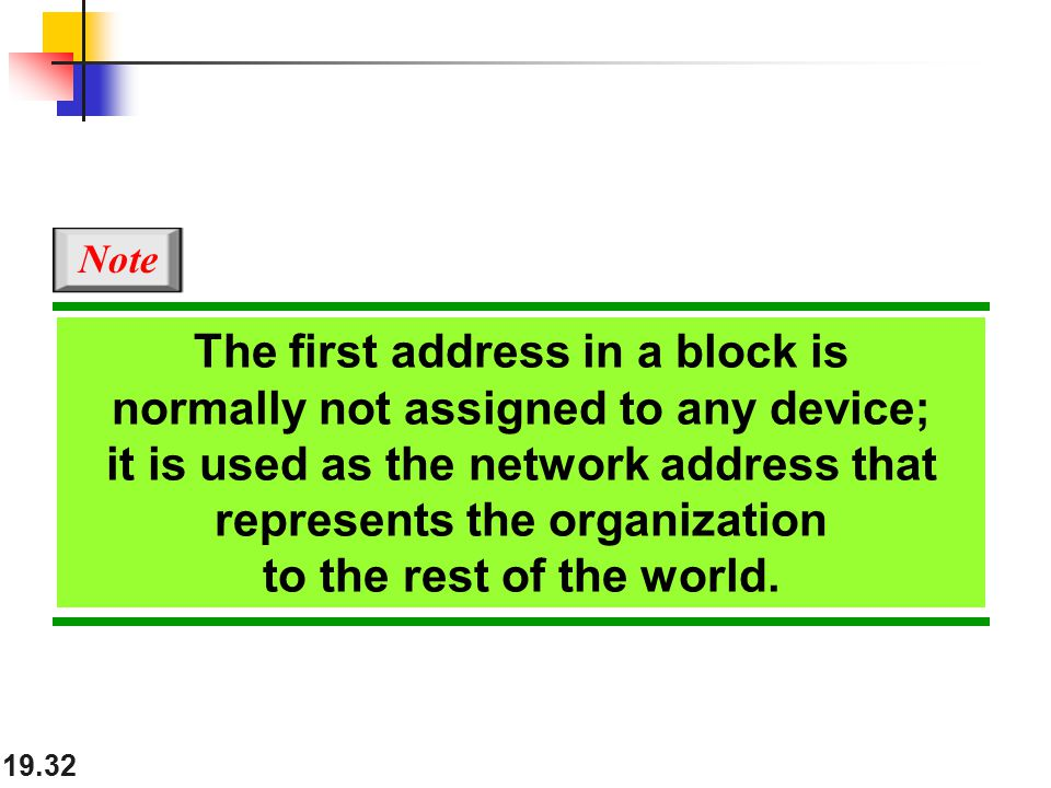 19.32 The first address in a block is normally not assigned to any device; it is used as the network address that represents the organization to the rest of the world.