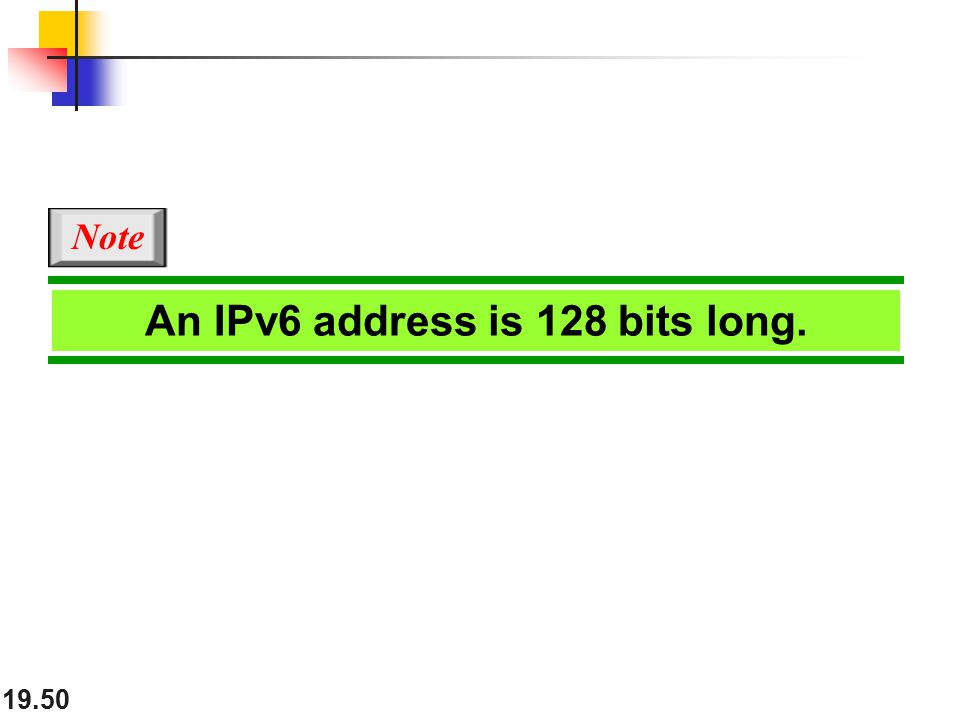 19.50 An IPv6 address is 128 bits long. Note