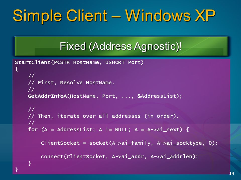 14 Simple Client – Windows XP StartClient(PCSTR HostName, USHORT Port) { // // First, Resolve HostName.