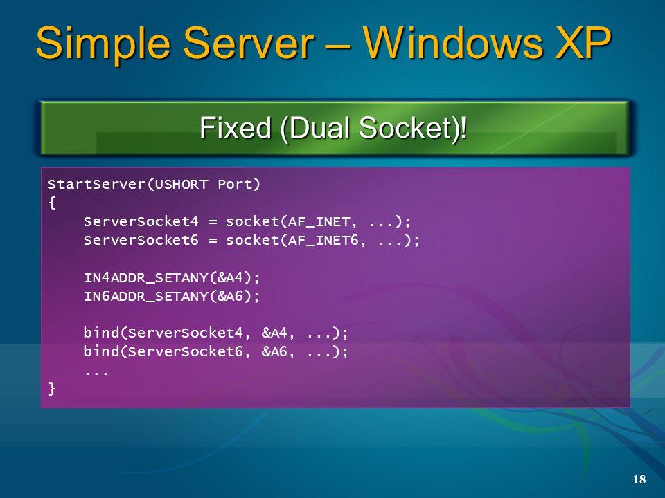 18 Simple Server – Windows XP Fixed (Dual Socket).