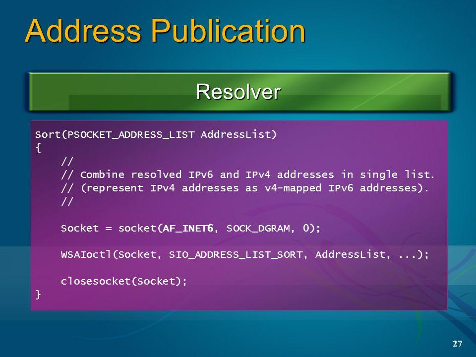 27 Address Publication Resolver Sort(PSOCKET_ADDRESS_LIST AddressList) { // // Combine resolved IPv6 and IPv4 addresses in single list.