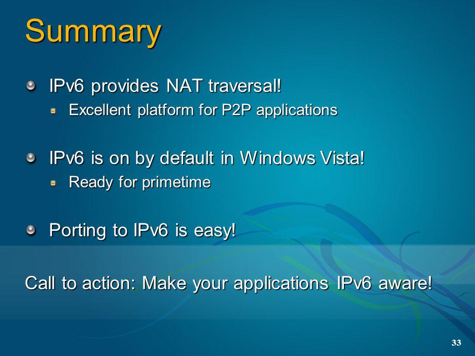 33 Summary IPv6 provides NAT traversal.