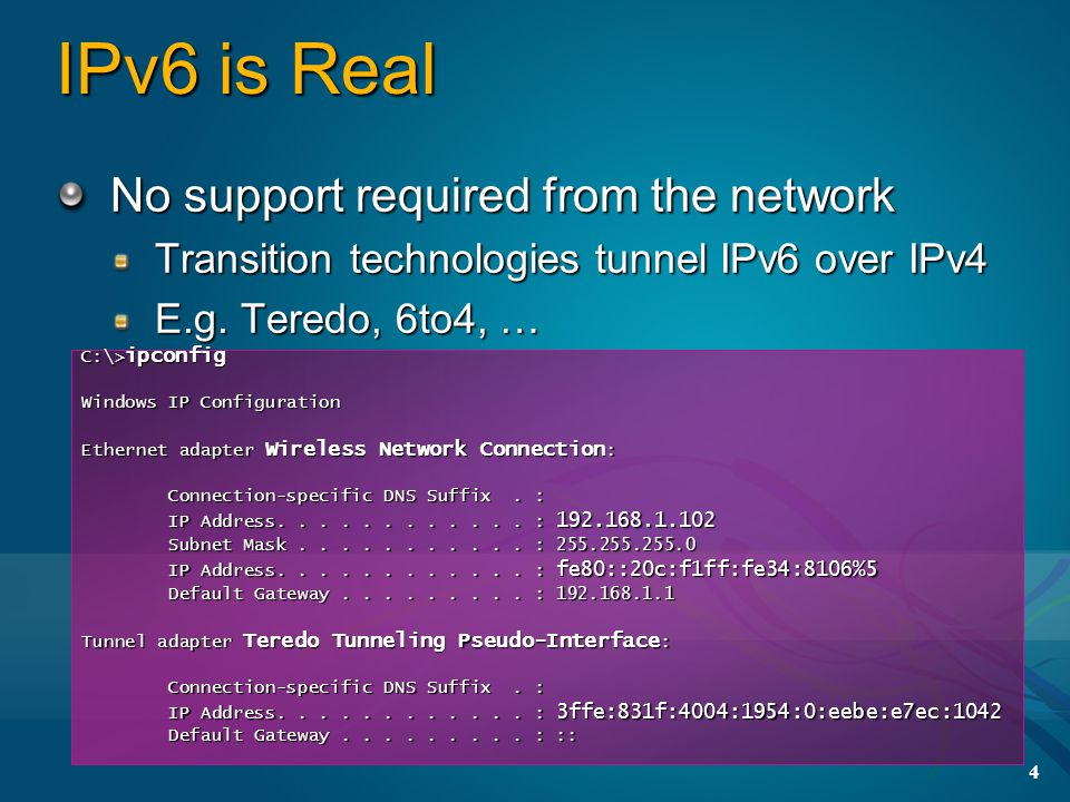 4 IPv6 is Real No support required from the network Transition technologies tunnel IPv6 over IPv4 E.g.