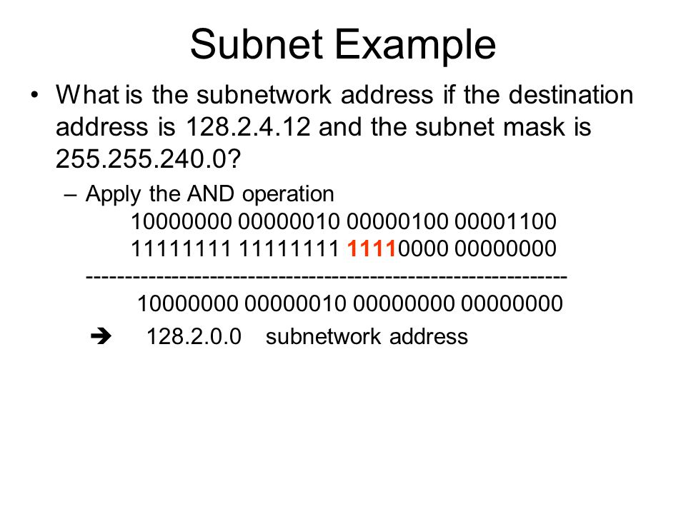 Subnet Example What is the subnetwork address if the destination address is 128.2.4.12 and the subnet mask is 255.255.240.0.