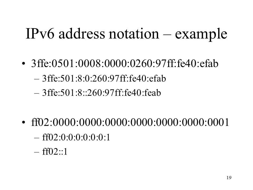 IPv6 address notation – example 3ffe:0501:0008:0000:0260:97ff:fe40:efab –3ffe:501:8:0:260:97ff:fe40:efab –3ffe:501:8::260:97ff:fe40:feab ff02:0000:0000:0000:0000:0000:0000:0001 –ff02:0:0:0:0:0:0:1 –ff02::1 19