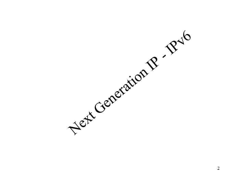 Next Generation IP - IPv6 2