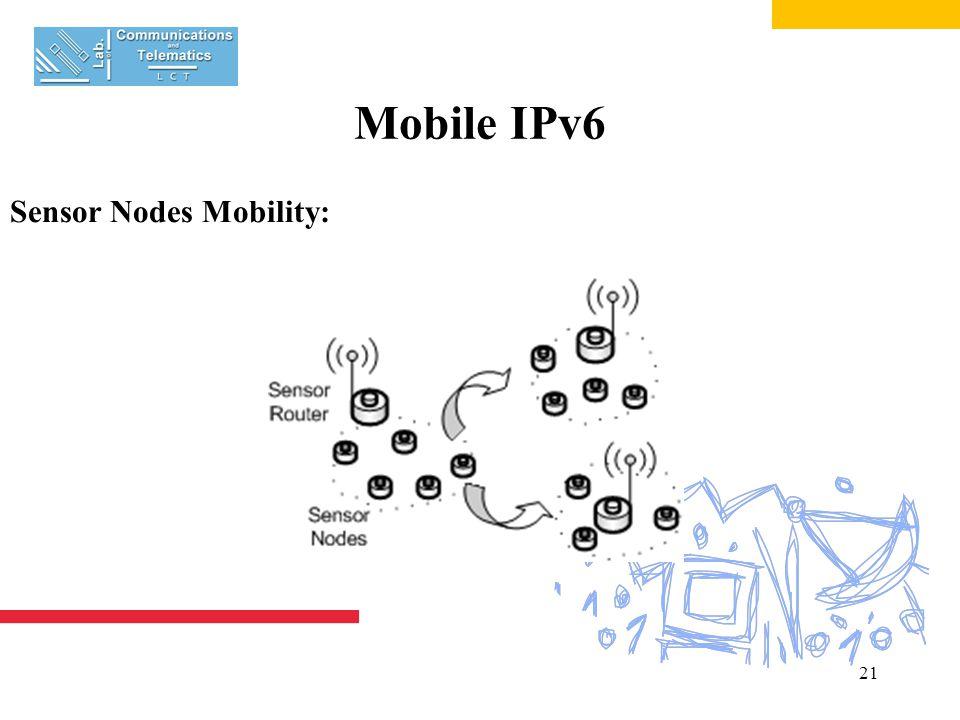 21 Mobile IPv6 Sensor Nodes Mobility: