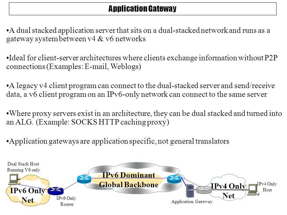Application Gateway A dual stacked application server that sits on a dual-stacked network and runs as a gateway system between v4 & v6 networks Ideal for client-server architectures where clients exchange information without P2P connections (Examples: E-mail, Weblogs) A legacy v4 client program can connect to the dual-stacked server and send/receive data, a v6 client program on an IPv6-only network can connect to the same server Where proxy servers exist in an architecture, they can be dual stacked and turned into an ALG.
