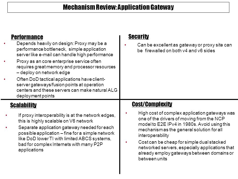 Mechanism Review: Application Gateway Performance Security Scalability Cost/Complexity Depends heavily on design: Proxy may be a performance bottleneck, simple application server like e-mail can handle high performance Proxy as an core enterprise service often requires great memory and processor resources – deploy on network edge Often DoD tactical applications have client- server gateways/fusion points at operation centers and these servers can make natural ALG deployment points Can be excellent as gateway or proxy site can be firewalled on both v4 and v6 sides If proxy interoperability is at the network edges, this is highly scalable on V6 network Separate application gateway needed for each possible application – fine for a simple network like DoD lower TI with limited ABCS systems, bad for complex Internets with many P2P applications High cost of complex application gateways was one of the drivers of moving from the NCP model to E2E IPv4 in 1980s.