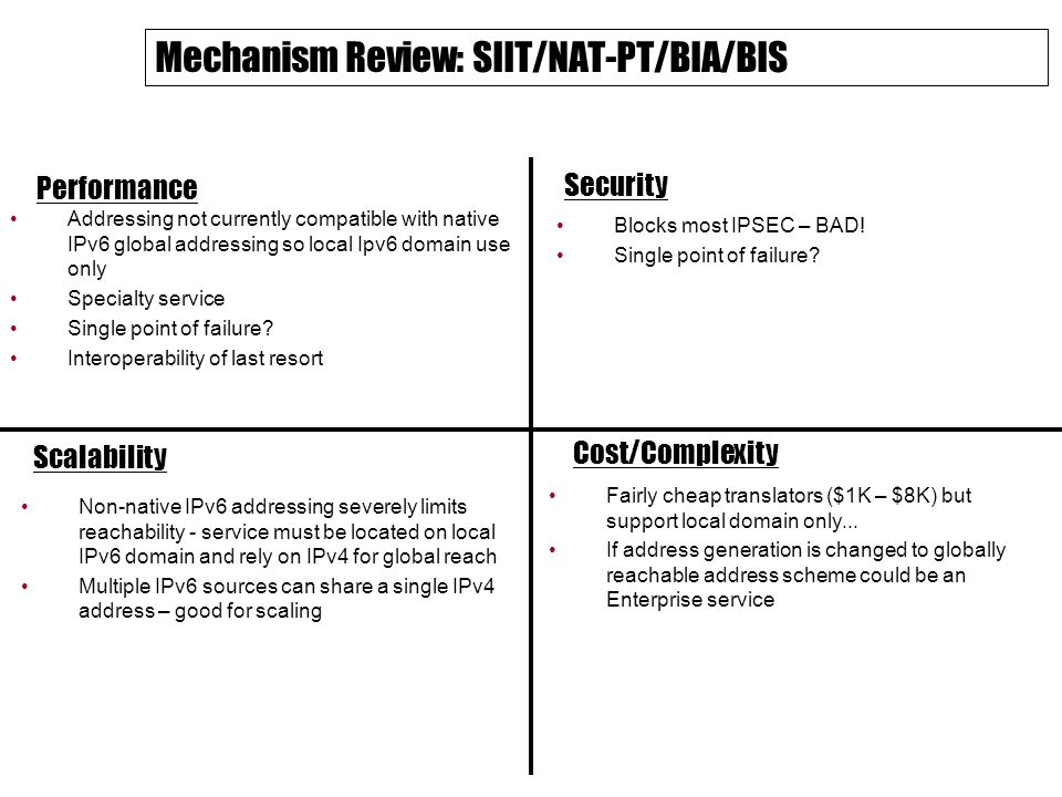 Mechanism Review: SIIT/NAT-PT/BIA/BIS Performance Security Scalability Cost/Complexity Addressing not currently compatible with native IPv6 global addressing so local Ipv6 domain use only Specialty service Single point of failure.