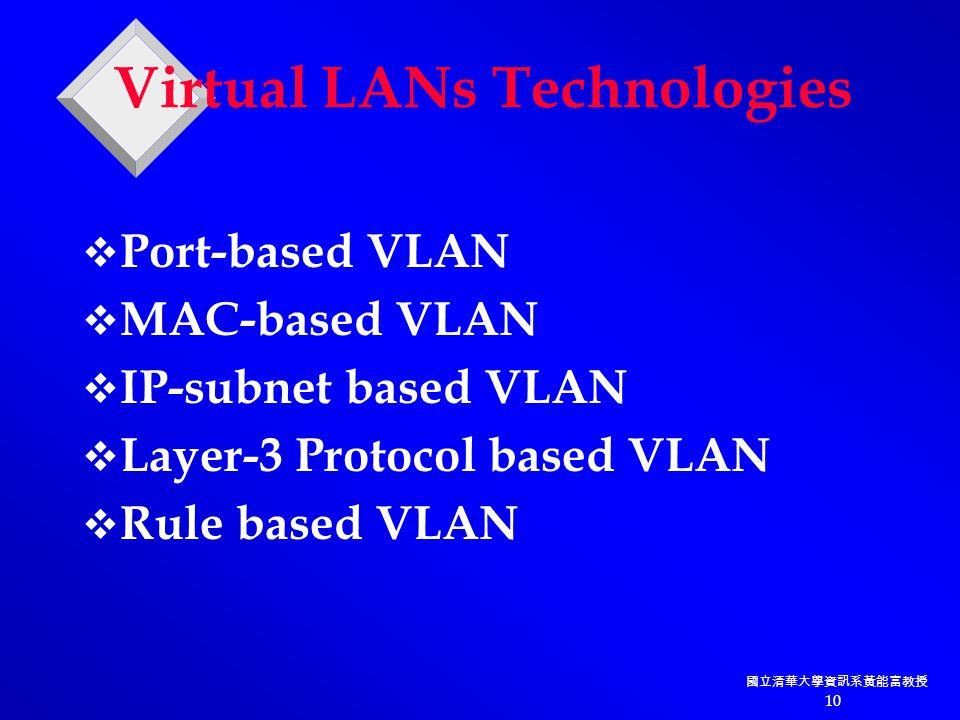 國立清華大學資訊系黃能富教授 10 Virtual LANs Technologies  Port-based VLAN  MAC-based VLAN  IP-subnet based VLAN  Layer-3 Protocol based VLAN  Rule based VLAN
