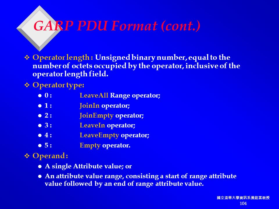 國立清華大學資訊系黃能富教授 104 GARP PDU Format (cont.)  Operator length : Unsigned binary number, equal to the number of octets occupied by the operator, inclusive of the operator length field.