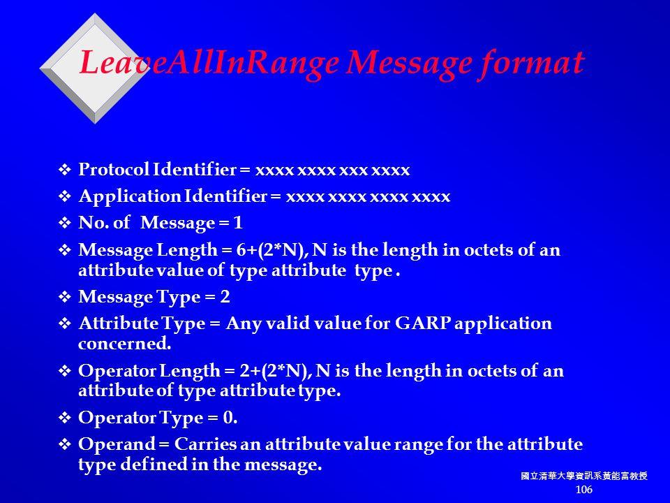 國立清華大學資訊系黃能富教授 106 LeaveAllInRange Message format  Protocol Identifier = xxxx xxxx xxx xxxx  Application Identifier = xxxx xxxx xxxx xxxx  No.