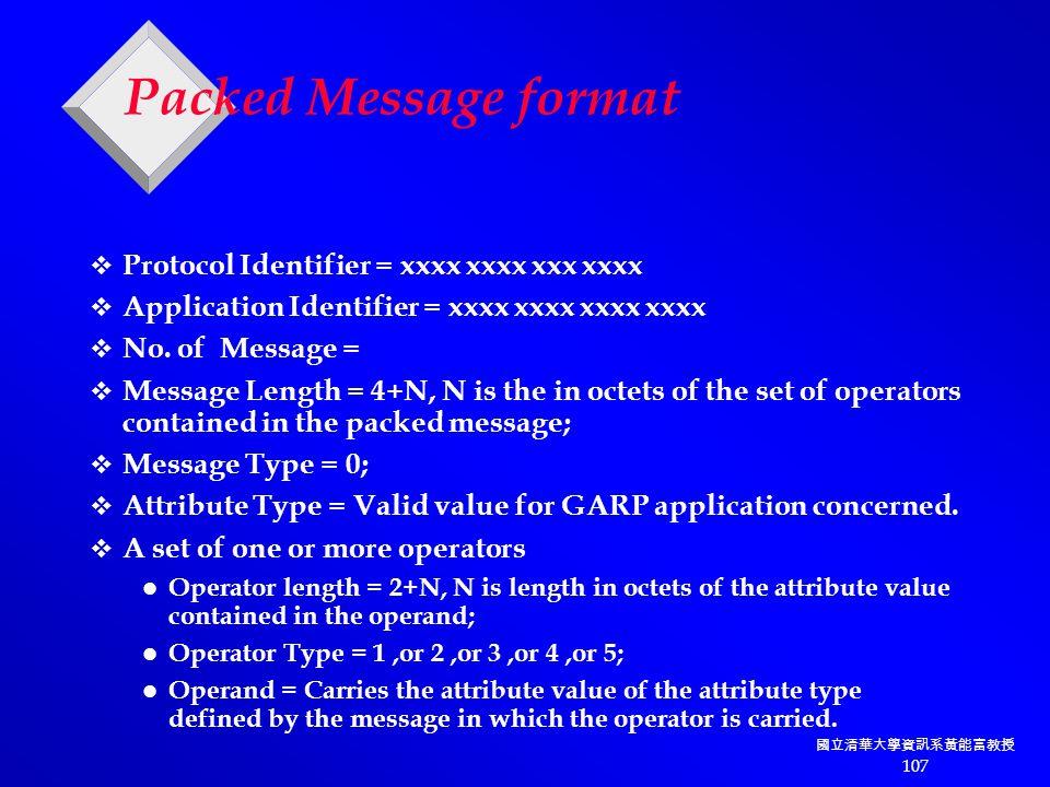 國立清華大學資訊系黃能富教授 107 Packed Message format  Protocol Identifier = xxxx xxxx xxx xxxx  Application Identifier = xxxx xxxx xxxx xxxx  No.