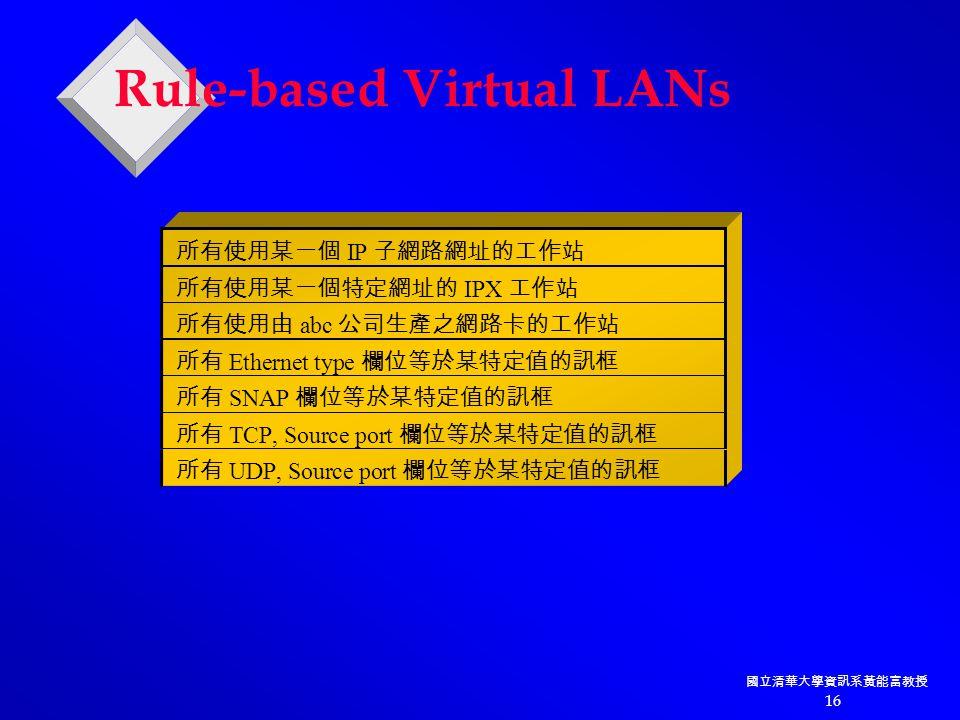 國立清華大學資訊系黃能富教授 16 Rule-based Virtual LANs 所有使用某一個 IP 子網路網址的工作站 所有使用某一個特定網址的 IPX 工作站 所有使用由 abc 公司生產之網路卡的工作站 所有 Ethernet type 欄位等於某特定值的訊框 所有 SNAP 欄位等於某特定值的訊框 所有 TCP, Source port 欄位等於某特定值的訊框 所有 UDP, Source port 欄位等於某特定值的訊框