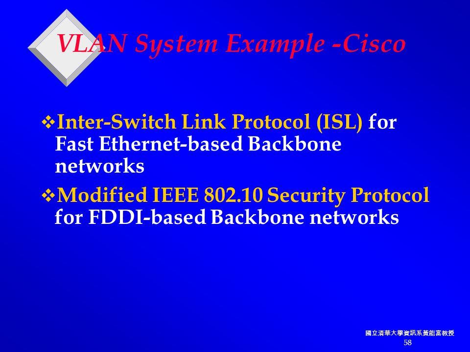 國立清華大學資訊系黃能富教授 58 VLAN System Example -Cisco  Inter-Switch Link Protocol (ISL) for Fast Ethernet-based Backbone networks  Modified IEEE 802.10 Security Protocol for FDDI-based Backbone networks