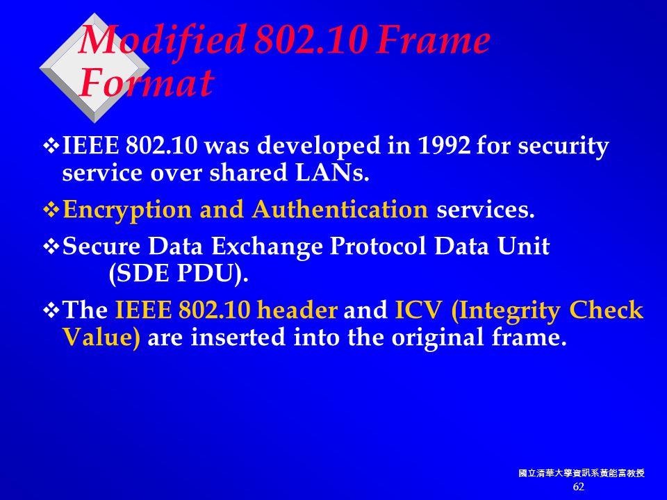 國立清華大學資訊系黃能富教授 62  IEEE 802.10 was developed in 1992 for security service over shared LANs.