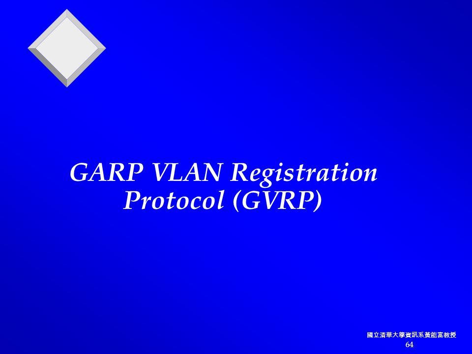 國立清華大學資訊系黃能富教授 64 GARP VLAN Registration Protocol (GVRP)