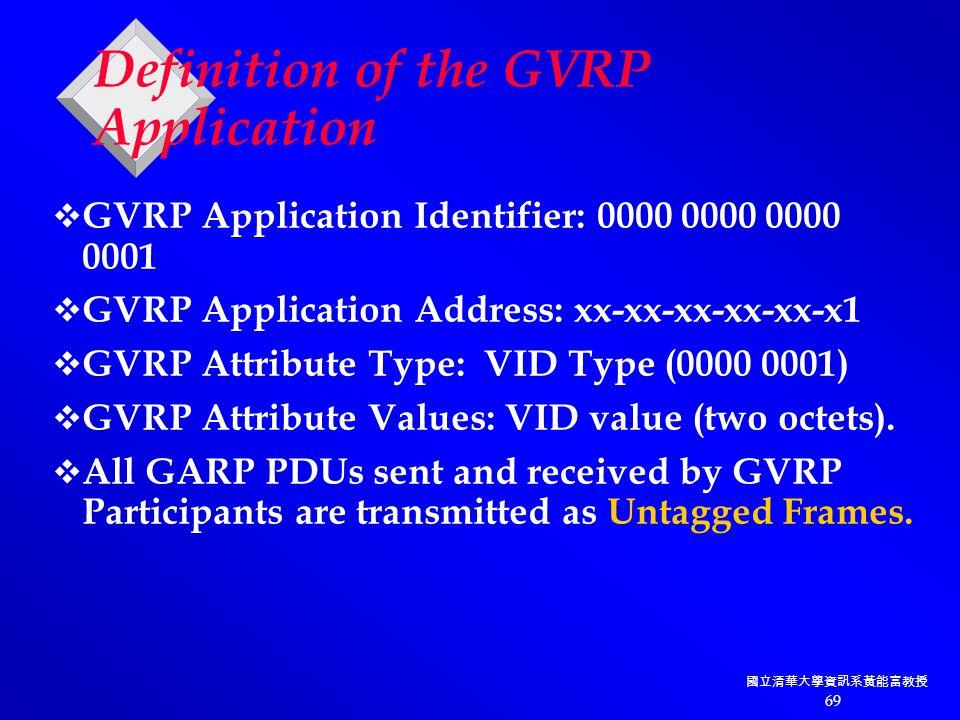 國立清華大學資訊系黃能富教授 69 Definition of the GVRP Application  GVRP Application Identifier: 0000 0000 0000 0001  GVRP Application Address: xx-xx-xx-xx-xx-x1  GVRP Attribute Type: VID Type (0000 0001)  GVRP Attribute Values: VID value (two octets).