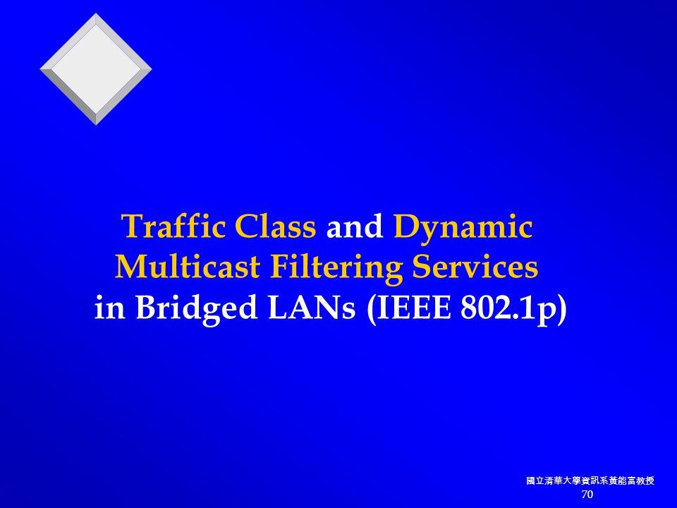 國立清華大學資訊系黃能富教授 70 Traffic Class and Dynamic Multicast Filtering Services in Bridged LANs (IEEE 802.1p)