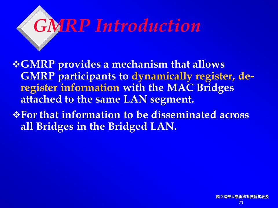 國立清華大學資訊系黃能富教授 71 GMRP Introduction  GMRP provides a mechanism that allows GMRP participants to dynamically register, de- register information with the MAC Bridges attached to the same LAN segment.