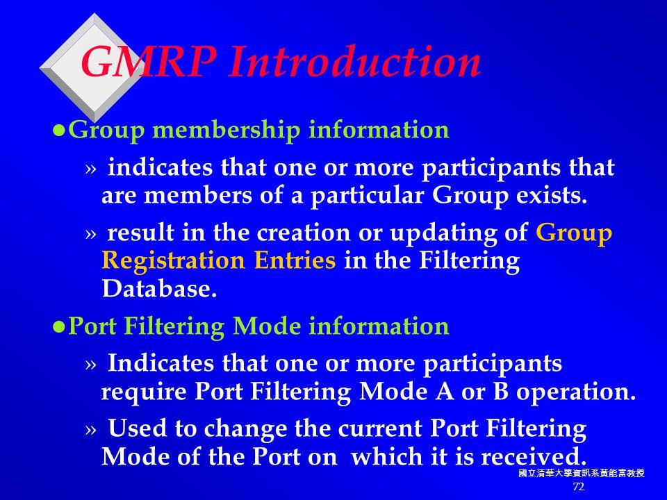 國立清華大學資訊系黃能富教授 72 GMRP Introduction Group membership information » indicates that one or more participants that are members of a particular Group exists.