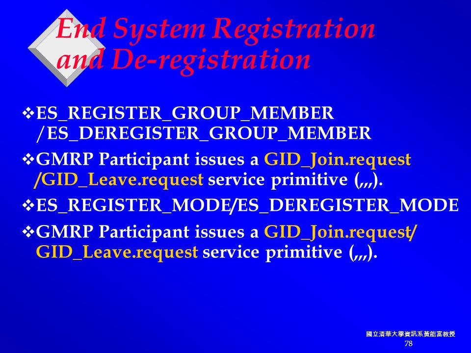 國立清華大學資訊系黃能富教授 78 End System Registration and De-registration  ES_REGISTER_GROUP_MEMBER / ES_DEREGISTER_GROUP_MEMBER  GMRP Participant issues a GID_Join.request /GID_Leave.request service primitive (,,,).