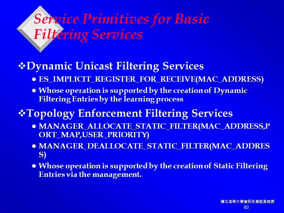 國立清華大學資訊系黃能富教授 82 Service Primitives for Basic Filtering Services  Dynamic Unicast Filtering Services ES_IMPLICIT_REGISTER_FOR_RECEIVE(MAC_ADDRESS) Whose operation is supported by the creation of Dynamic Filtering Entries by the learning process  Topology Enforcement Filtering Services MANAGER_ALLOCATE_STATIC_FILTER(MAC_ADDRESS,P ORT_MAP,USER_PRIORITY) MANAGER_DEALLOCATE_STATIC_FILTER(MAC_ADDRES S) Whose operation is supported by the creation of Static Filtering Entries via the management.