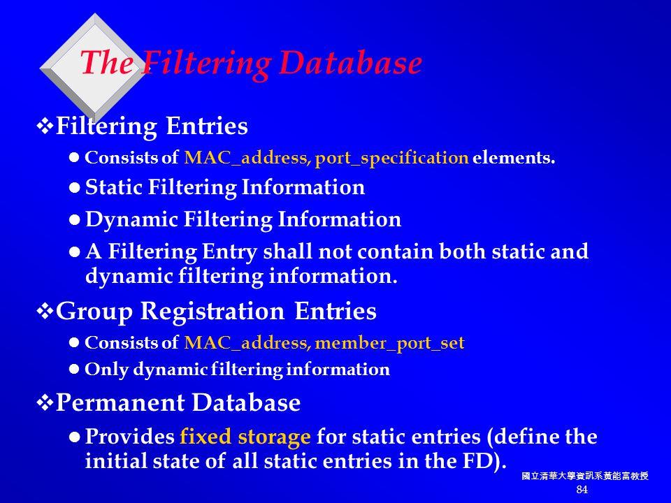 國立清華大學資訊系黃能富教授 84 The Filtering Database  Filtering Entries Consists of MAC_address, port_specification elements.