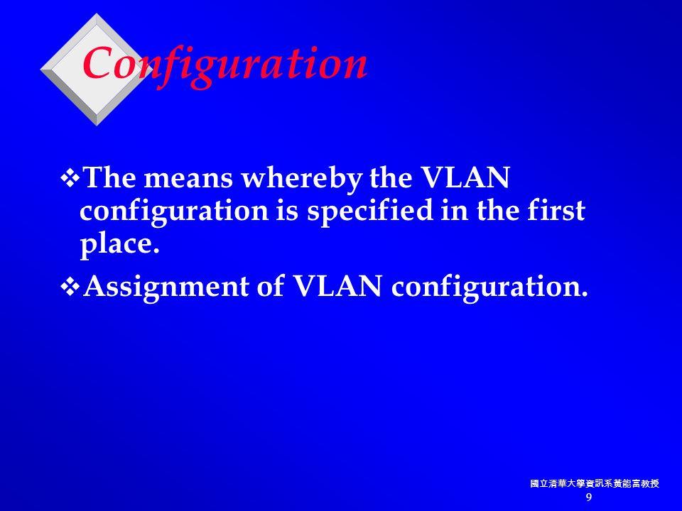 國立清華大學資訊系黃能富教授 60 Address Constant (AA-AA-03) VLAN ID 包裝 訊框 Destination Type User Source Length Address Address High-Bits Source Address (00-00-0C) BPDU Index Resv CRC 40 4 4 48 16 位元 24 24 15 1 16 16 8-196,600 32 位元 ISL 標頭 ISL Frame Format (01-00-0C-00-00) Type : Ethernet (0000) Token-Ring (0001) FDDI (0010) ATM (0011) Port index