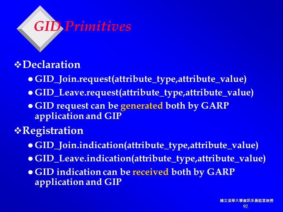 國立清華大學資訊系黃能富教授 92 GID Primitives  Declaration GID_Join.request(attribute_type,attribute_value) GID_Leave.request(attribute_type,attribute_value) GID request can be generated both by GARP application and GIP  Registration GID_Join.indication(attribute_type,attribute_value) GID_Leave.indication(attribute_type,attribute_value) GID indication can be received both by GARP application and GIP