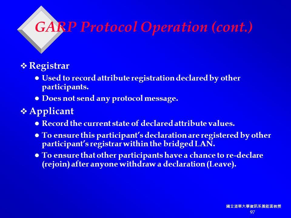 國立清華大學資訊系黃能富教授 97 GARP Protocol Operation (cont.)  Registrar Used to record attribute registration declared by other participants.