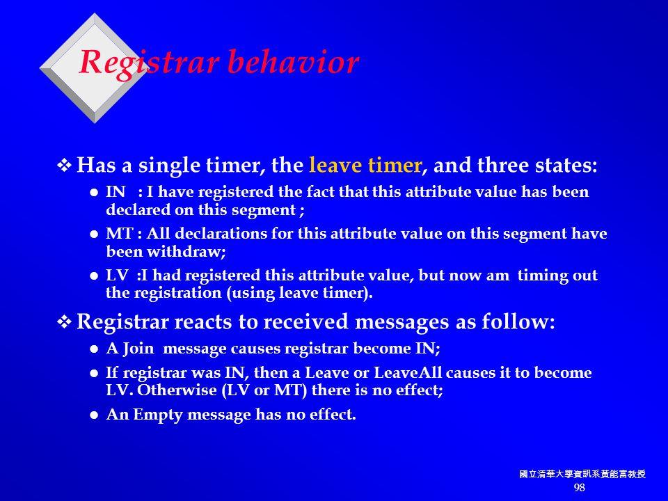 國立清華大學資訊系黃能富教授 98 Registrar behavior  Has a single timer, the leave timer, and three states: IN : I have registered the fact that this attribute value has been declared on this segment ; MT : All declarations for this attribute value on this segment have been withdraw; LV :I had registered this attribute value, but now am timing out the registration (using leave timer).