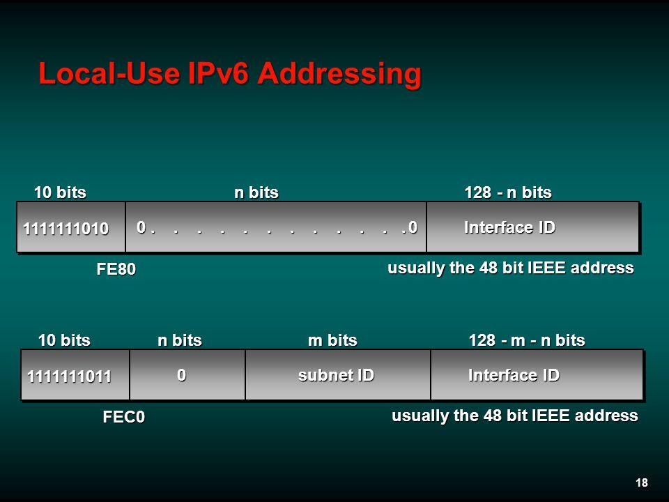 18 1111111010 0 Interface ID 10 bits n bits 128 - n bits usually the 48 bit IEEE address 0............ 1111111011 Interface ID 10 bits n bits 128 - m