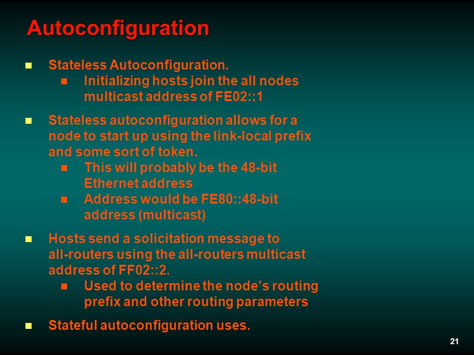 21 Autoconfiguration Stateless Autoconfiguration.
