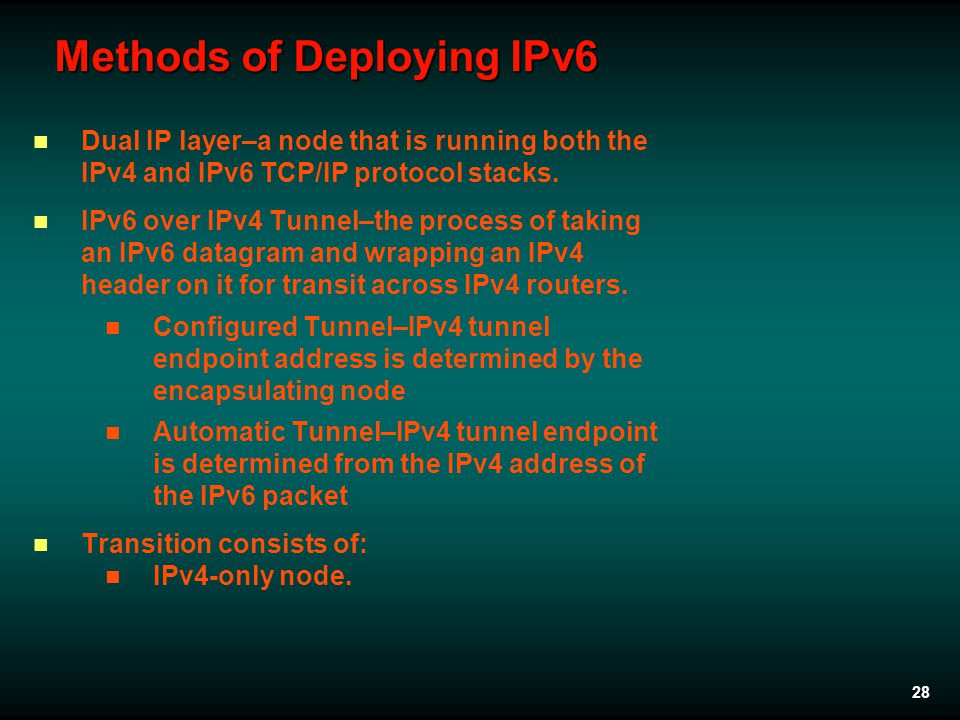 28 Methods of Deploying IPv6 Dual IP layer–a node that is running both the IPv4 and IPv6 TCP/IP protocol stacks.
