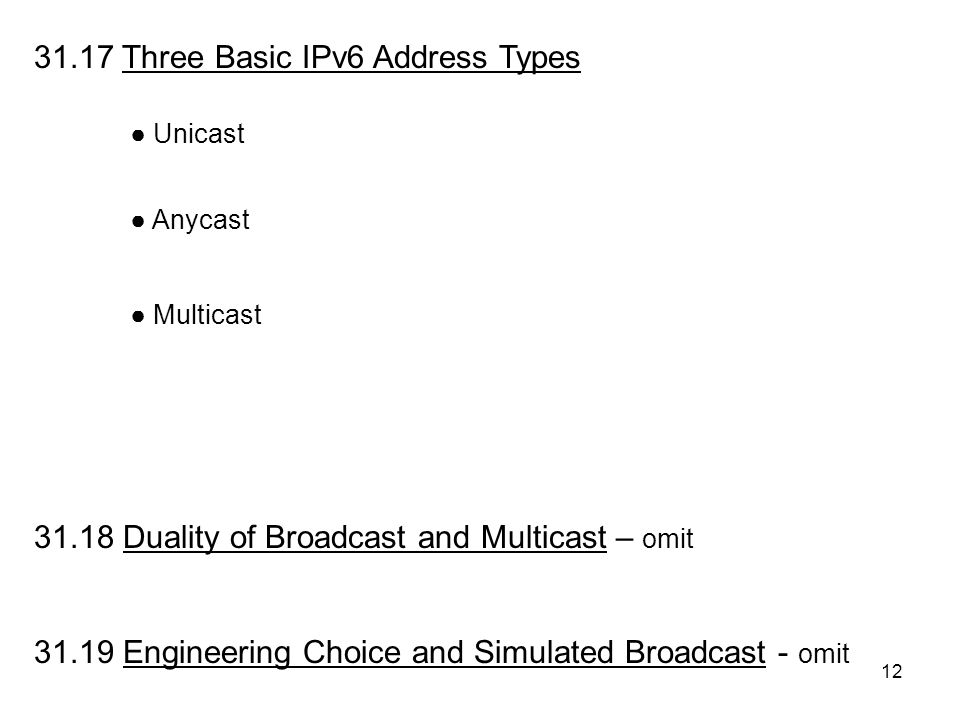 12 31.17 Three Basic IPv6 Address Types 31.18 Duality of Broadcast and Multicast – omit 31.19 Engineering Choice and Simulated Broadcast - omit ● Anycast ● Multicast ● Unicast