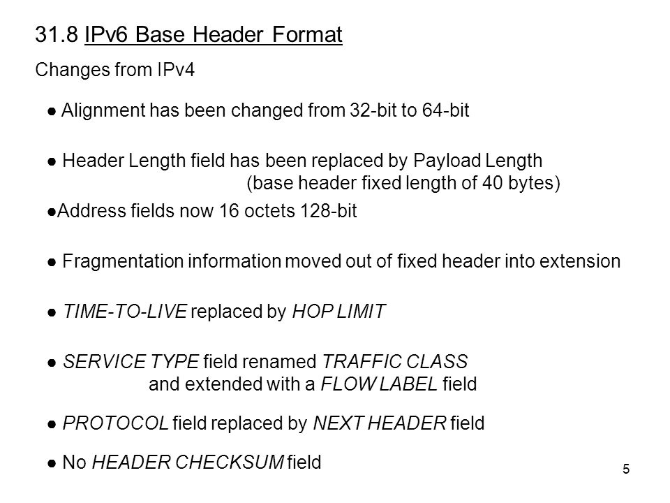 5 31.8 IPv6 Base Header Format Changes from IPv4 ● Alignment has been changed from 32-bit to 64-bit ● Header Length field has been replaced by Payload Length (base header fixed length of 40 bytes) ●Address fields now 16 octets 128-bit ● Fragmentation information moved out of fixed header into extension ● TIME-TO-LIVE replaced by HOP LIMIT ● SERVICE TYPE field renamed TRAFFIC CLASS and extended with a FLOW LABEL field ● PROTOCOL field replaced by NEXT HEADER field ● No HEADER CHECKSUM field