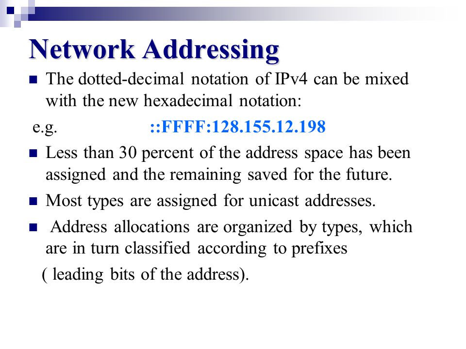 Network Addressing 2 when consecutive zero-valued fields appear 4BF5:0:0:0:BAF5:39A:A:2176 can be shortened by [double colon (::)] 4BF5::BAF5:39A:A:2176 - To recover the original address from one containing a double colon: you take the non-zero value that appear to the left of the double colons and align them to the left and the number to the right align them to the right and set zeros between them.