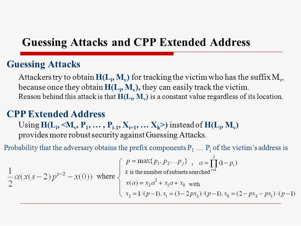 Guessing Attacks and CPP Extended Address Guessing Attacks Attackers try to obtain H(L i, M v ) for tracking the victim who has the suffix M v, because once they obtain H(L i, M v ), they can easily track the victim.