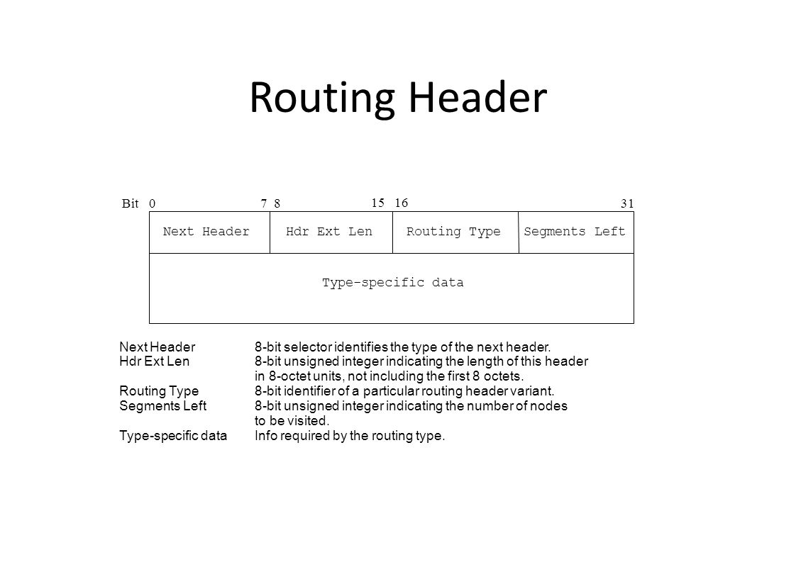 Routing Header Bit0 15 16 31 Next Header 7 8 Next Header8-bit selector identifies the type of the next header.