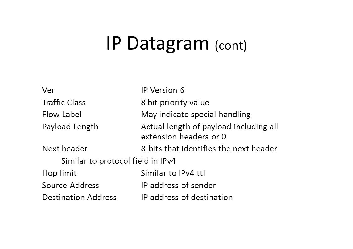 IP Datagram (cont)‏ Ver IP Version 6 Traffic Class8 bit priority value Flow LabelMay indicate special handling Payload LengthActual length of payload including all extension headers or 0 Next header8-bits that identifies the next header Similar to protocol field in IPv4 Hop limitSimilar to IPv4 ttl Source AddressIP address of sender Destination Address IP address of destination