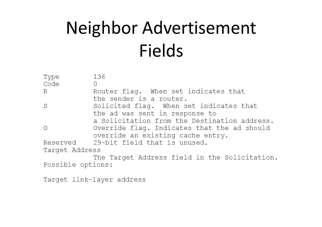 Neighbor Advertisement Fields Type136 Code0 RRouter flag.