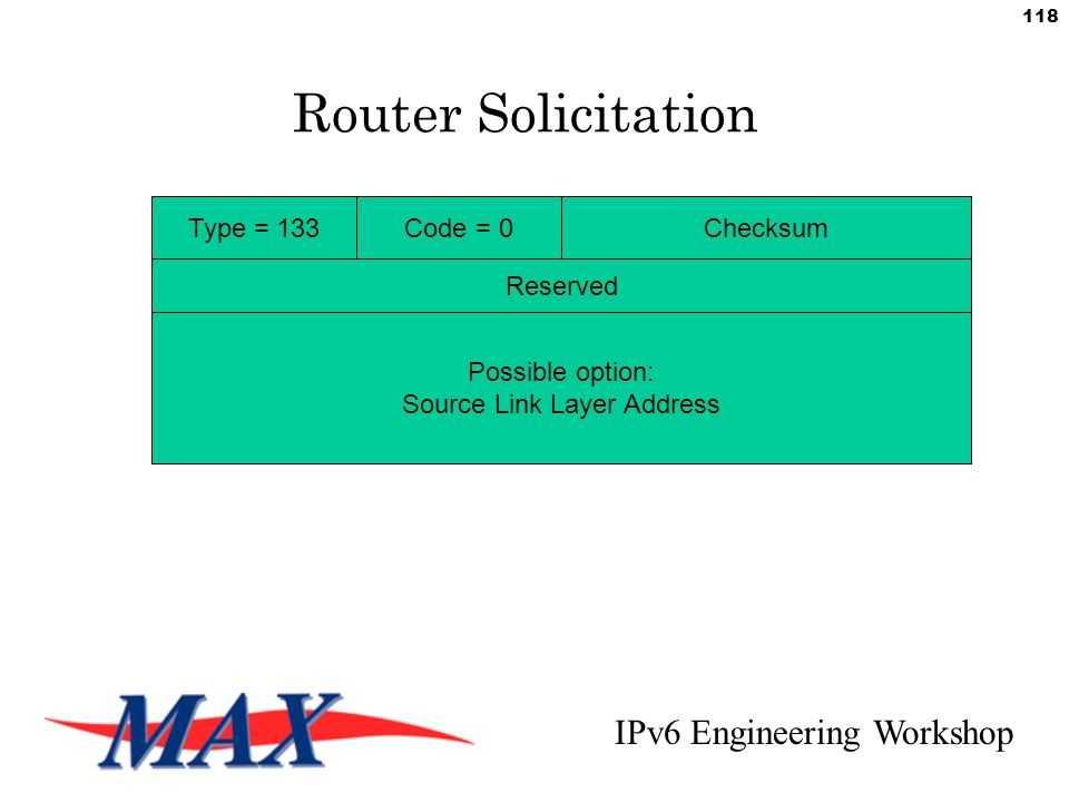 IPv6 Engineering Workshop 118 Router Solicitation Type = 133Code = 0Checksum Reserved Possible option: Source Link Layer Address