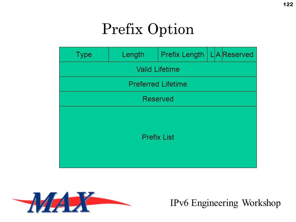 IPv6 Engineering Workshop 122 Prefix Option TypeLengthPrefix LengthL A Reserved Valid Lifetime Preferred Lifetime Reserved Prefix List