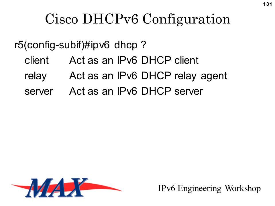 IPv6 Engineering Workshop 131 Cisco DHCPv6 Configuration r5(config-subif)#ipv6 dhcp .