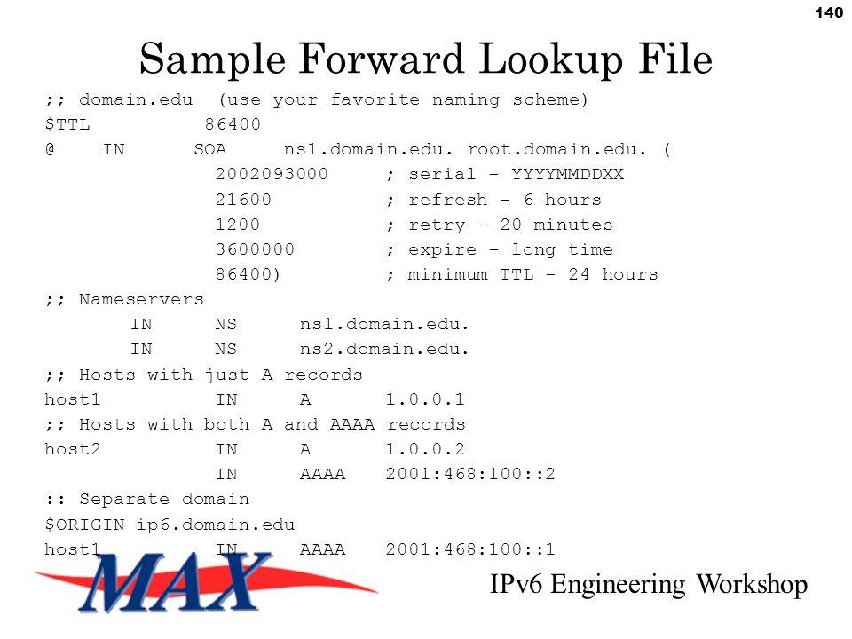 IPv6 Engineering Workshop 140 Sample Forward Lookup File ;; domain.edu (use your favorite naming scheme) $TTL 86400 @ IN SOA ns1.domain.edu.