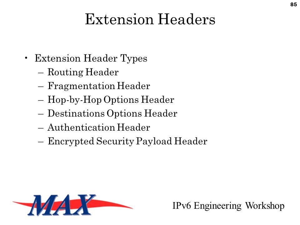 IPv6 Engineering Workshop 85 Extension Headers Extension Header Types –Routing Header –Fragmentation Header –Hop-by-Hop Options Header –Destinations Options Header –Authentication Header –Encrypted Security Payload Header